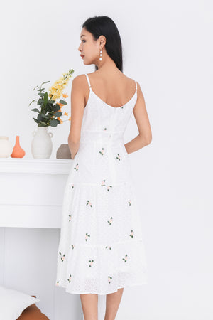 Christie Eyelet Midi Dress In White