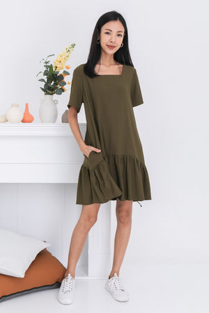Taylia Dress Romper In Olive