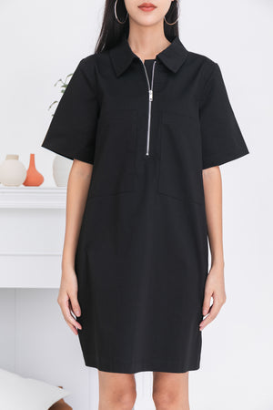 Loewin Utility Zip Dress In Black