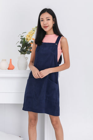 Zoen Pinafore Dress In Navy