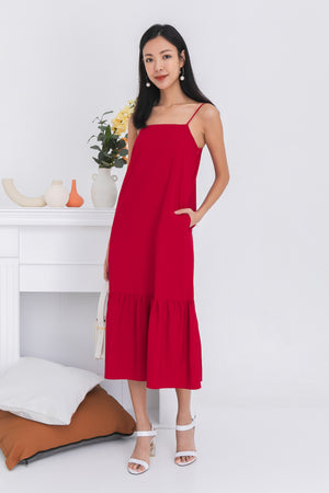 Jordyn Dropwaist Dress In Red