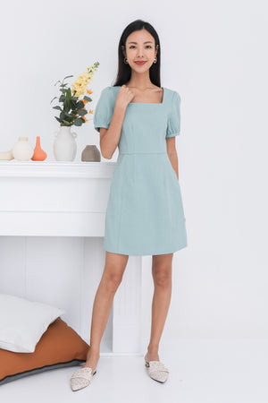 Keily Square Neck Dress In Mint