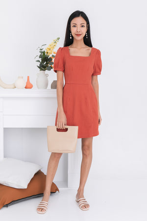 Keily Square Neck Dress In Rust