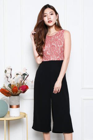 Kayleigh Lace Bodice Jumpsuit In Rose Pink