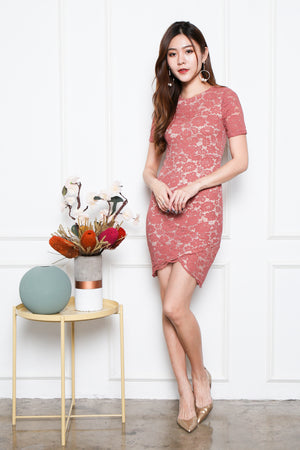 Mollie Lace Overlap Hem Dress In Rose Pink