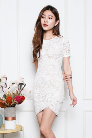 Mollie Lace Overlap Hem Dress In White