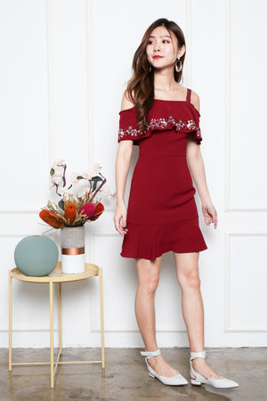 *Premium* Allura Off Shoulder Embroidery Dress In Wine