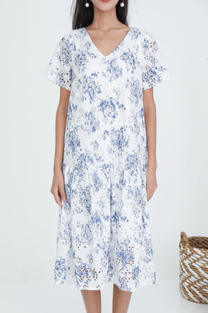 Palene Eyelet Drophem Dress In Porcelain