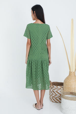 Palene Eyelet Drophem Dress In Green