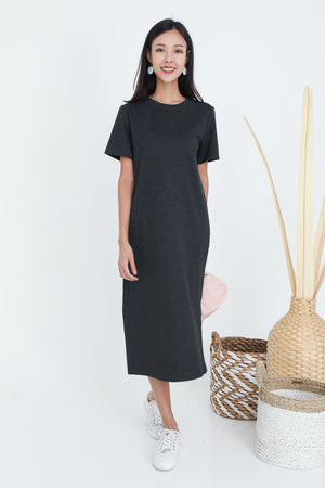 Albey Cotton Midi Dress In Heather Grey