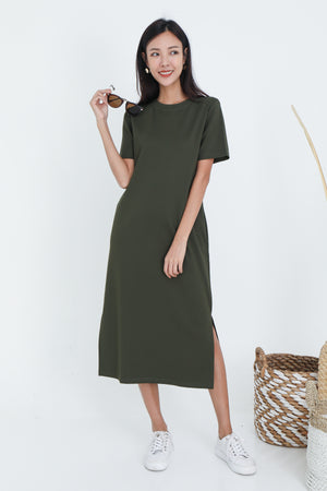 Albey Cotton Midi Dress In Olive
