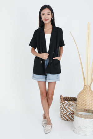 Jassin Short Sleeve Blazer In Black