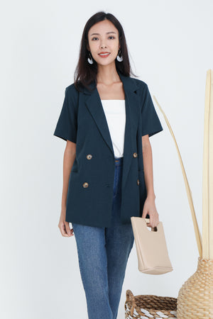 Jassin Short Sleeve Blazer In Navy
