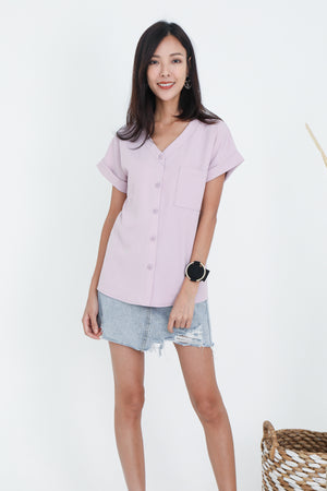 Dawson Button Top In Dusty Pink