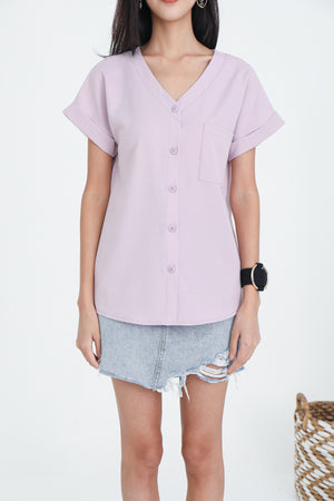 Dawson Button Top In Dusty Pink (L & XL)