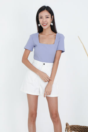 Marlo Ribbed Square Neck Top In Lilac
