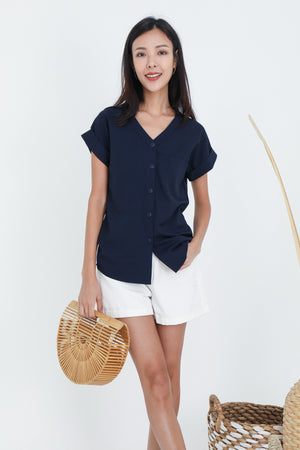 Dawson Button Top In Navy