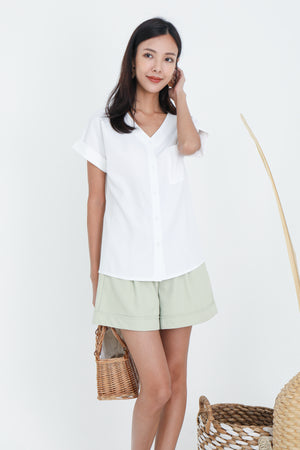 Dawson Button Top In White