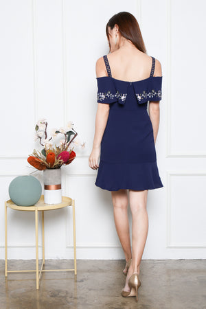 *Premium* Allura Off Shoulder Embroidery Dress In Navy