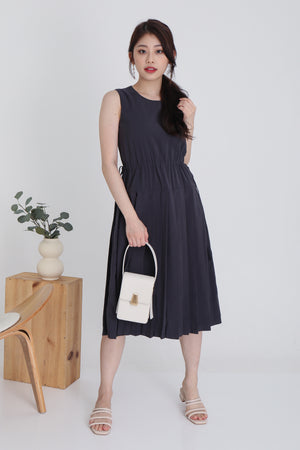 Pessy Drawstring Pleated Dress In Slate Grey