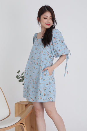 Sidney Floral Tie Sleeve Dress In Sky Blue