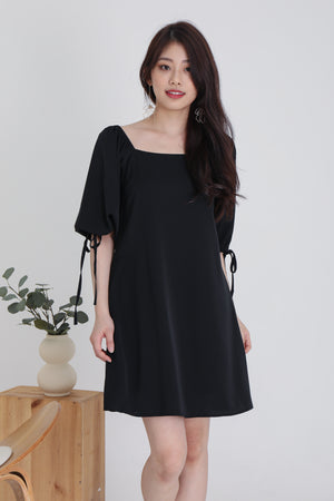 Sidney Tie Sleeve Dress In Black