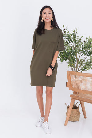 Allison Pocket Dress In Olive