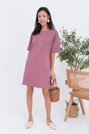 Allison Pocket Dress In Mauve