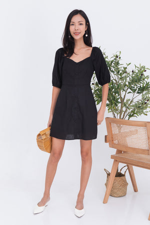 Calista Puff Sleeve Dress Romper In Black
