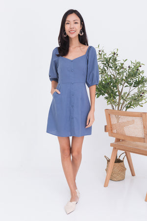 Calista Puff Sleeve Dress Romper In Blue