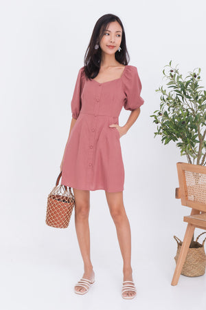 Calista Puff Sleeve Dress Romper In Rose
