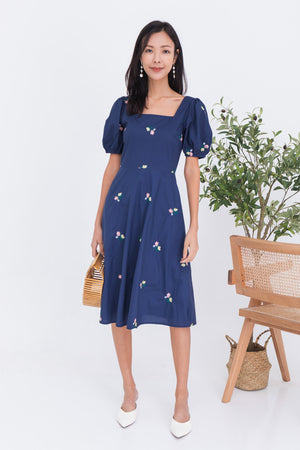 *BACKORDER* Fleur Embroidery Square Neck Midi In Navy