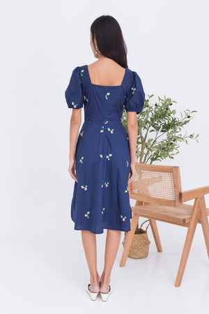 Fleur Embroidery Square Neck Midi In Navy