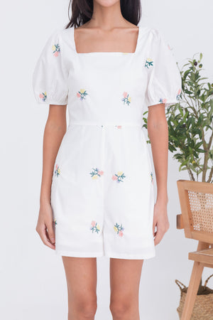 Ayana Embroidery Puff Sleeve Romper In White