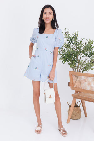 Ayana Embroidery Puff Sleeve Romper In Light Blue
