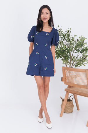 Ayana Embroidery Puff Sleeve Romper In Navy