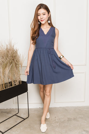 Sherri Eyelet Dress In Periwinkle Blue
