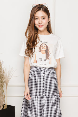 Harmonie Printed Tee In White