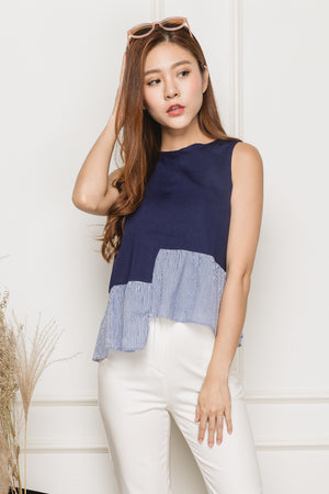 Arielle Asymmetry Hem Top In Navy