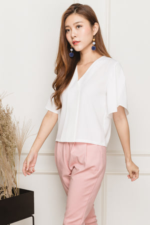 Clotho Flutter Sleeve Blouse In White