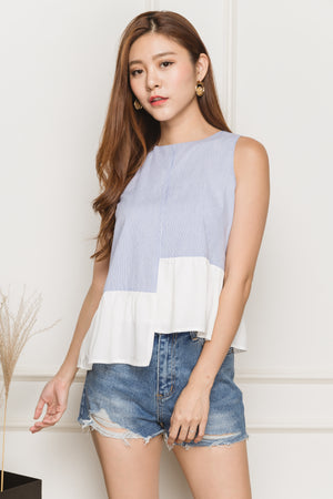 Arielle Asymmetry Hem Top In Stripes