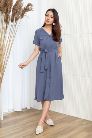 Madeline Utility Midi Dress In Steel Blue