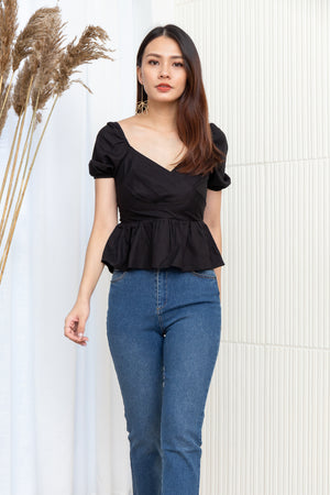 Shirley Sweetheart Peplum Top In Black