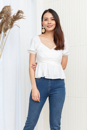 Shirley Sweetheart Peplum Top In White