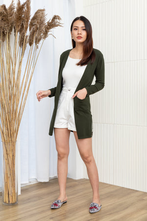 Faustine Knit Cardigan In Forest