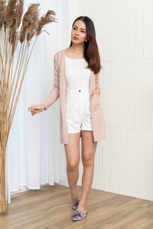 Faustine Knit Cardigan In Pink Sand