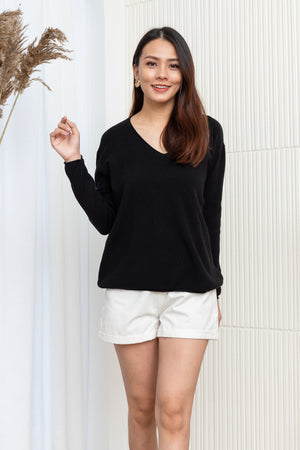 Davin Knit Pullover In Black