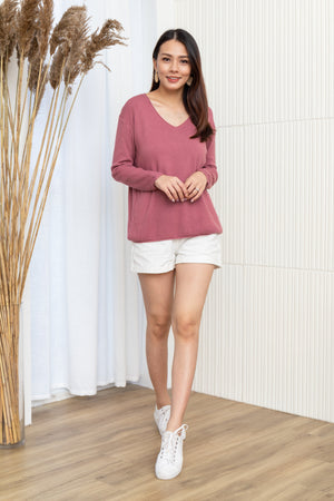 Davin Knit Pullover In Berry