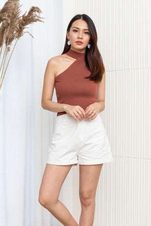 Etta Toga Knit Top In Rose Brown