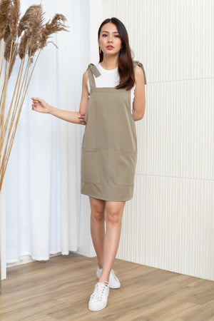 Alexy Tie Shoulder Dress In Olive